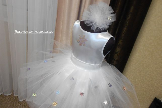 Новогодний костюм снежинка платье и пышная юбка из фатина