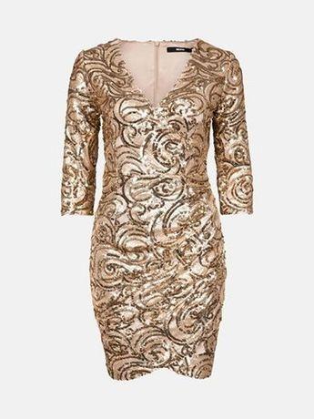 Шикарное нарядное платье в золотистых  паетках. Bik- bok