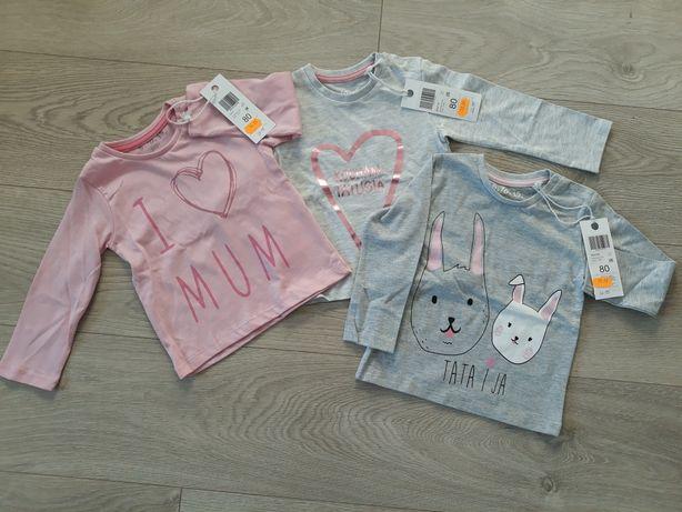 T-shirt, dziewczynka, 5-10-15, 3 sztuki nowe z metkami rozmiar 80