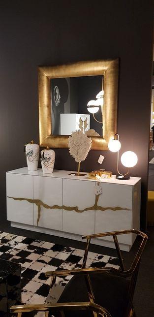 DESIGN: Aparador de Vidro Temperado Branco e Dourado By Arcoazul