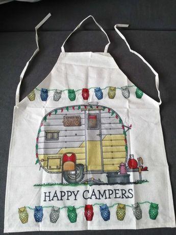 Fartuszek kuchenny happy camper, kamping, namiot.
