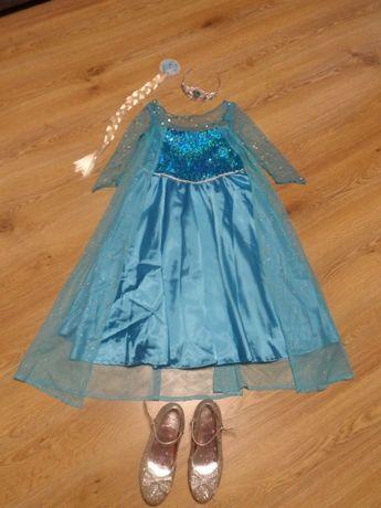 Костюм Ельзы, платье, коса, диадема, туфли принцессы