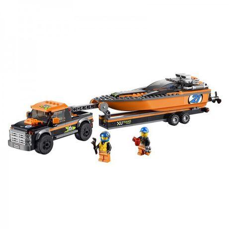 LEGO, оригинал, Дания. Внедорожник, катер, минифигурки, лодка, 60085