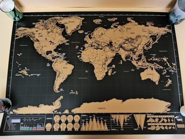 Скретч карта мира большая 83х60 см