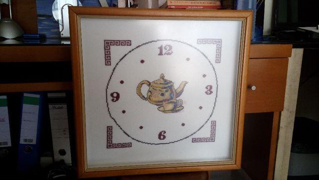 Relógio em ponto cruz cozinha, sala jantar