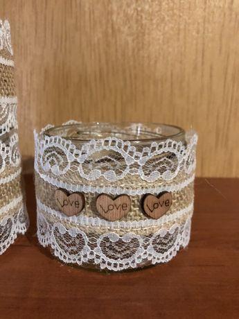 Słoiczki w stylu rustykalnym/ dekoracje ślubne rustykalne