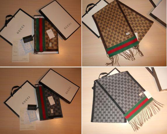 Теплый кашемировый Шарф Gucci двухсторонний, Италия, оригинал