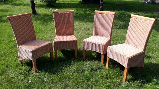 4 krzesła wiklinowe, rattan