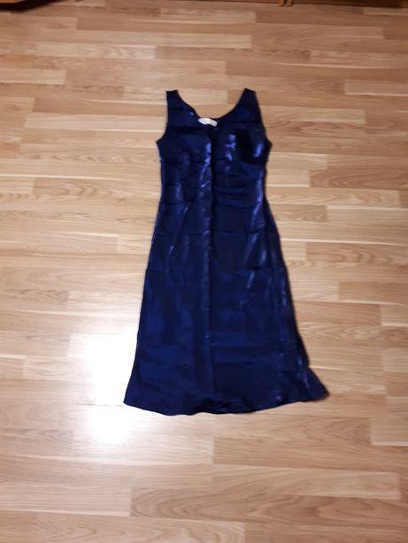 Sukienka granatowa atłasowa rozmiar 40