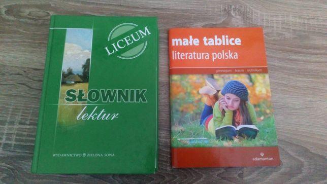 Słownik lektur + małe tablice literatura polska