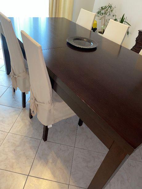 OKAZJA stół z krzesłami lite drewno kolor orzech