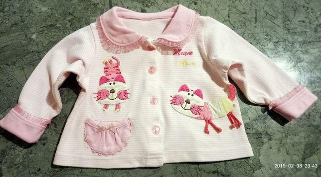 Kaftanik bluzka niemowlęca rozpinana róż, kołnierzyk,kotki, r. 3-6 m-c