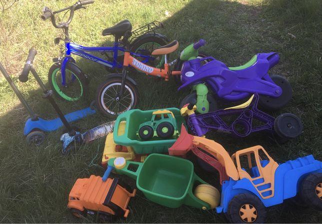 Машинки-транспорт(беговел,велосипед,мотоцикл,трактор,прыгун)