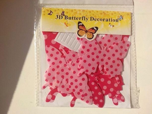набор комплект 12 шт бабочки на липучке розовые в горошек декор