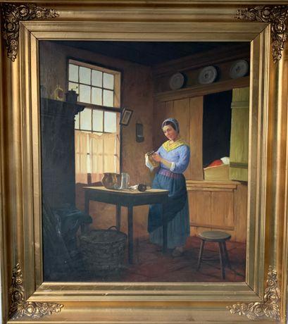 Antyczny obraz scena w kuchni, antyk staroć malarstwo XIX wiek duży