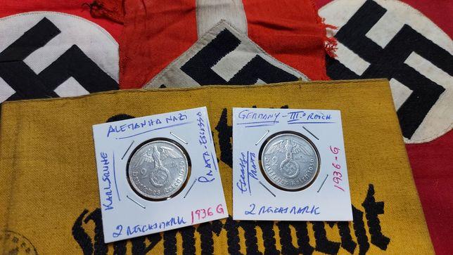 2 reichsmark 1939 G- PRATA suástica Alemanha nazi ORIGINAIS