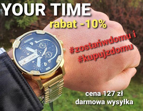 Męski zegarek na bransolecie w kolorze złotym rabat