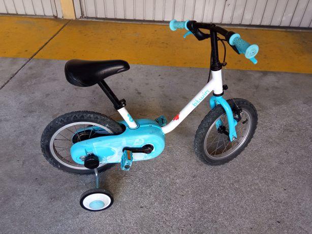 Bicicleta roda 14 + capacete + rodinhas de aprendizagem