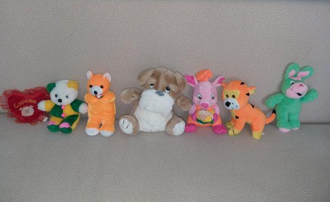 Мягкие игрушки собака заяц тигр медвежонок