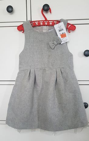 Reserved sukienka świąteczna 98 tiul szara