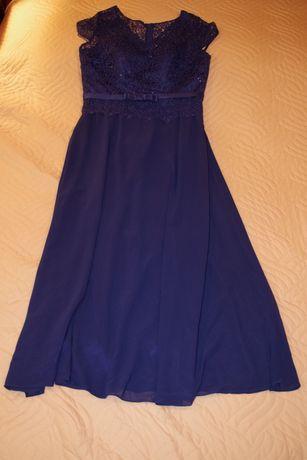 Sukienka szafirowa długa rozmiar 52.
