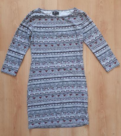 Sukienka obcisła w azteckie wzory Reserved 36/S z rękawem
