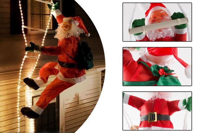 Дед Мороз на лестнице / Большие и маленькие фигуры Санта Клауса