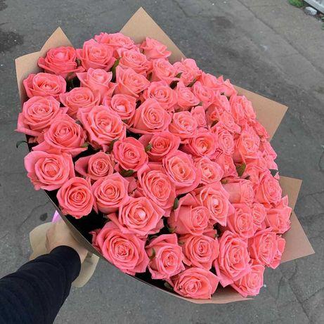 Букет 75 розовых роз. Доставка цветов Днепр, подарок девушке, розы