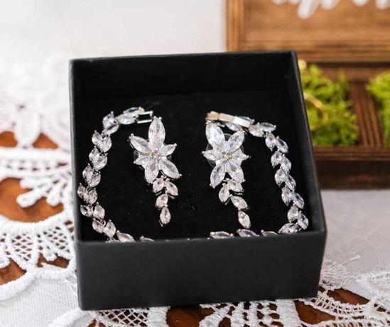 Biżuteria ślubna, kolczyki i bransoletka, komplet