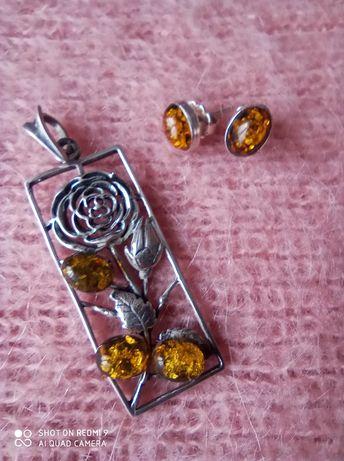 Piękny zestaw biżuterii. Naturalny bursztyn zatopiony w srebrze
