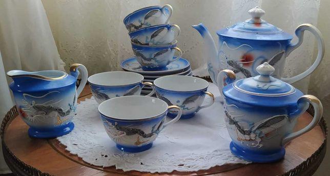 Serviço de chá chines (cor azul)