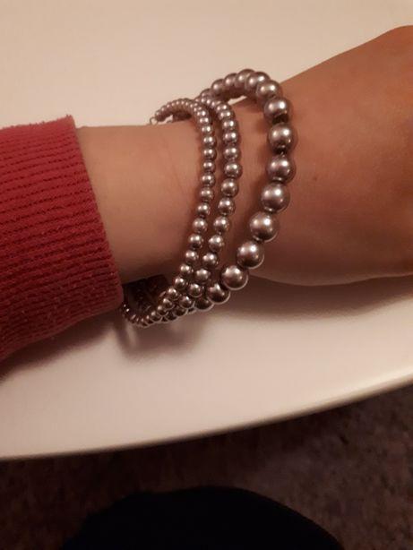 Bransoletki bransoletka fioletowe perełki perły