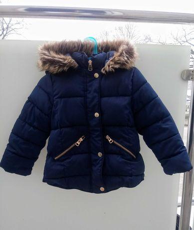 Rezerwacja! Zara kurtka granatowa zimowa z kapturem ciepła z futerkiem