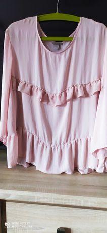 bluzeczka H&M romantyczna delikatna pudrowy róż 52