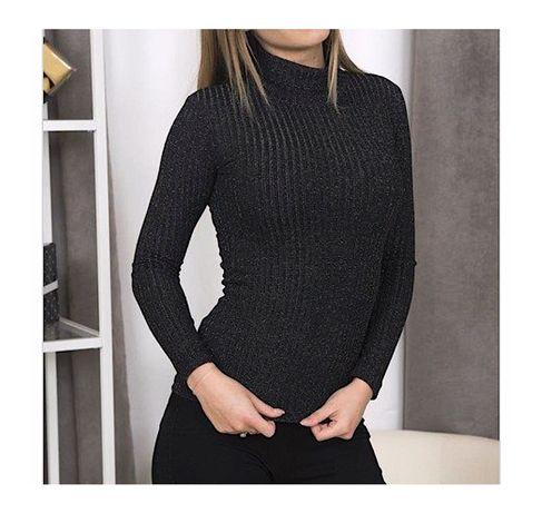 Czarny sweter/golf ze świecącą nitką. Czarny golf XS S M L
