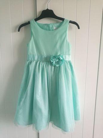 Elegancka sukienka miętowa Smyk r. 116