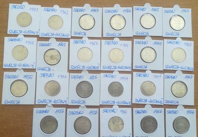 Monety srebrne zestaw 23 sztuk 1 korona Szwecja. Srebro.