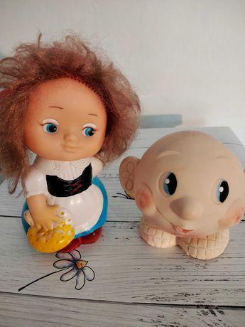 Резиновые игрушки СССР, Красная Шапочка, Колобок. Цена за две игрушки.