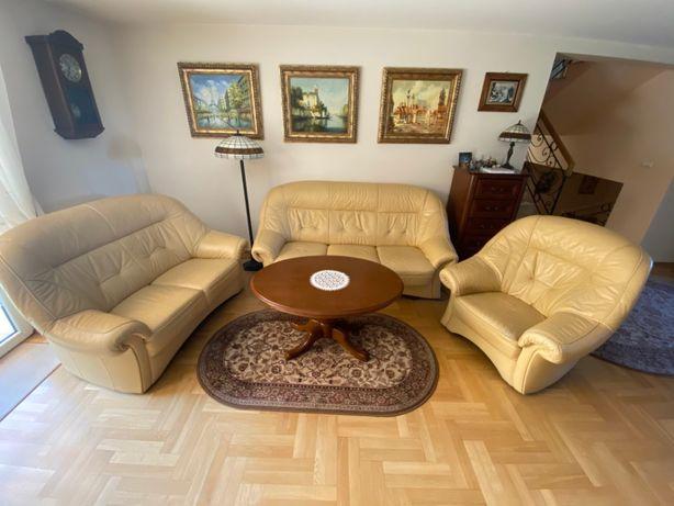 Zestaw wypoczynkowy skórzany 3+2 z funkcja spania + fotel gratis