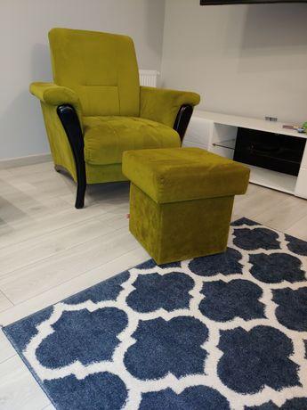 Fotel + pufa kolor zielony