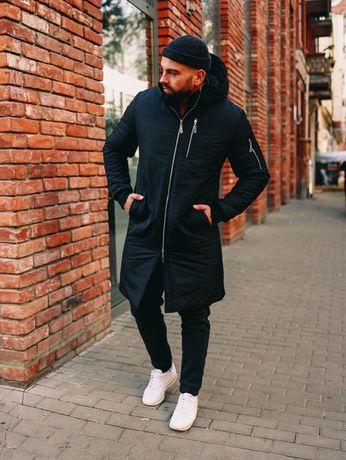 Топ ! Мужская зимняя куртка Парка черная Распродажа, Стильная классика