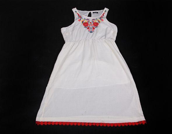 Kremowa sukienka z wyszywanym dekoltem haft folk boho 48 50