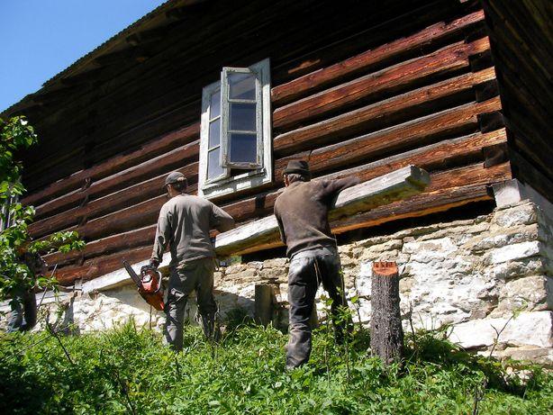 Bale drewniane na sztuki na dom z bali, Jodła 1926, drewno odzysku