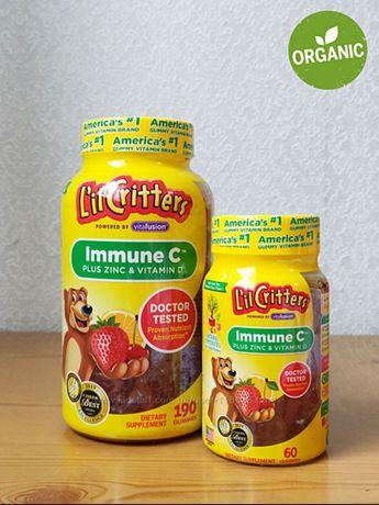 Lil Critters,  детские витамины для иммунитета C, Д3, цинк, 60 шт