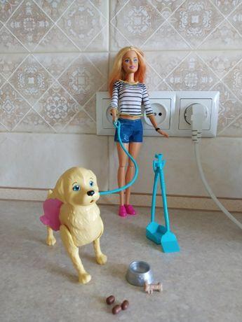 Кукольный набор с собакой Кукла Барби прогулка со щенком.