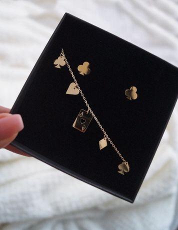bransoletka kolczyki złote zestaw zestaw celebrytka wkręty złote