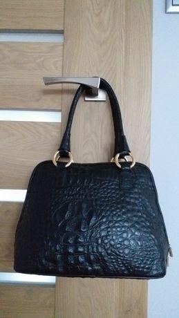 Ripani oryginalna skóra skórzana torebka kuferek shopper czarna