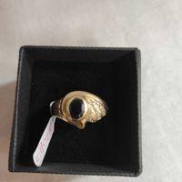 żłoty pierścionek z czarnym oczkiem, lombard madej sc