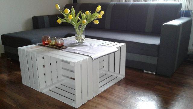 Stolik ze skrzynek drewnianych ława stół skrzynka do pokoju salonu