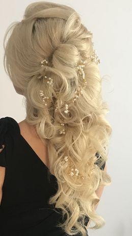Złota ozdoba we włosy, gałązka kryształki perełki 2szt.